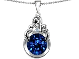 Star K™ Large Loving Mother With Twins Children Pendant Necklace With Round 10mm Created Sapphire style: 304469