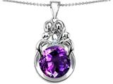 Star K™ Large Loving Mother And Family Pendant Necklace With Round 10mm Simulated Amethyst style: 304472
