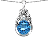 Star K™ Large Loving Mother And Family Pendant Necklace With Round 10mm Simulated Aquamarine style: 304473