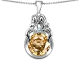 Star K™ Large Loving Mother And Family Pendant Necklace With Round 10mm Simulated Imperial Yellow Topaz style: 304476