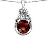 Star K™ Large Loving Mother And Family Pendant Necklace With Round 10mm Simulated Garnet style: 304479