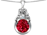 Star K™ Large Loving Mother And Family Pendant Necklace With Round 10mm Created Ruby style: 304485
