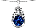 Star K™ Large Loving Mother And Family Pendant Necklace With Round 10mm Created Sapphire style: 304486