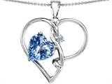 Star K™ Large 10mm Heart Shaped Simulated Aquamarine Knotted Heart Pendant Necklace style: 304491