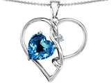 Star K™ Large 10mm Heart Shaped Simulated Blue Topaz Knotted Heart Pendant Necklace style: 304493