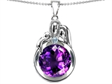 Star K™ Loving Mother And Father With Child Family Pendant Necklace With Round 10mm Simulated Amethyst style: 304506