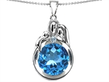 Star K™ Loving Mother And Father With Child Family Pendant Necklace With Round 10mm Simulated Aquamarine style: 304507