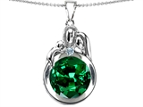 Star K™ Loving Mother And Father With Child Family Pendant Necklace With Round 10mm Simulated Emerald style: 304510