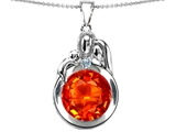 Star K™ Loving Mother And Father With Child Family Pendant Necklace With Round 10mm Simulated Mexican Fire Opal style: 304511