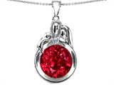 Star K™ Loving Mother And Father With Child Family Pendant Necklace With Round 10mm Created Ruby style: 304518