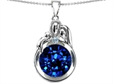 Star K™ Loving Mother And Father With Child Family Pendant Necklace With Round 10mm Created Sapphire style: 304519