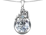 Star K™ Loving Mother And Father With Child Family Pendant Necklace With 10mm Round Genuine White Topaz style: 304520