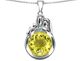 Star K™ Loving Mother And Father With Child Family Pendant Necklace With Round 10mm Simulated Yellow Sapphire style: 304521
