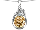 Star K™ Loving Mother And Father With Child Family Pendant Necklace With Round Simulated Imperial Yellow Topaz style: 304522