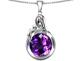 Star K™ Loving Mother With Child Family Large Pendant Necklace With Round 10mm Simulated Amethyst style: 304523