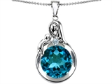 Star K™ Loving Mother With Child Family Large Pendant Necklace With Round 10mm Simulated Blue Topaz style: 304526