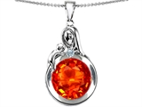Star K™ Loving Mother With Child Family Large Pendant Necklace With Round 10mm Simulated Mexican Fire Opal style: 304528