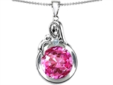 Star K™ Loving Mother With Child Family Large Pendant Necklace With Round 10mm Created Pink Sapphire style: 304533