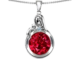 Star K™ Loving Mother With Child Family Large Pendant Necklace With Round 10mm Created Ruby style: 304535