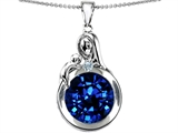 Star K™ Loving Mother With Child Family Large Pendant Necklace With Round 10mm Created Sapphire style: 304536