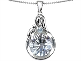 Star K™ Loving Mother With Child Family Pendant Necklace With Round 10mm Genuine White Topaz style: 304537