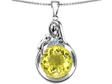 Star K™ Loving Mother With Child Family Large Pendant Necklace With Round 10mm Simulated Yellow Sapphire style: 304538