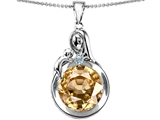 Star K™ Loving Mother With Child Family Large Pendant Necklace With Round 10mm Simulated Imperial Yellow Topaz style: 304539