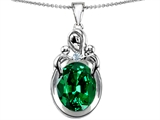 Star K™ Large Loving Mother Twin Children Pendant Necklace With Oval Simulated Emerald 11x9mm style: 304544