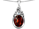 Star K™ Large Loving Mother Twin Children Pendant Necklace With Oval Simulated Garnet 11x9mm style: 304546