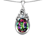 Star K™ Large Loving Mother Twin Children Pendant Necklace With Oval Mystic Topaz 11x9mm style: 304547