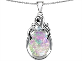 Star K™ Loving Mother With Children Pendant Necklace With Oval Simulated Pink Opal style: 304551