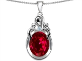 Star K™ Loving Loving Mother Twin Children Pendant Necklace With Oval Created Ruby 11x9mm style: 304552
