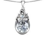 Star K™ Loving Mother With Children Pendant Necklace With Oval 11x9mm Genuine White Topaz style: 304554