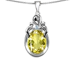 Star K™ Large Loving Mother Twin Children Pendant Necklace With Oval Simulated Yellow Sapphire 11x9mm style: 304555
