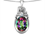 Star K™ Large Loving Mother Twin Family Pendant Necklace With Oval Mystic Topaz 11x9mm style: 304564