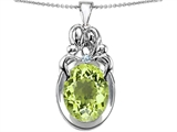 Star K™ Large Loving Mother Twin Family Pendant Necklace With Oval Simulated Peridot and Cubic Zirconia 11x9mm style: 304566