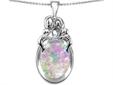 Original Star K™ Loving Mother And Family Pendant With Oval Simulated Pink Opal style: 304568