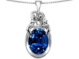 Star K™ Large Loving Mother Twin Family Pendant Necklace With Oval Created Sapphire 11x9mm style: 304570