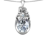 Star K™ Loving Mother And Family Pendant Necklace With Oval 11x9mm Genuine White Topaz style: 304571