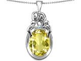 Star K™ Large Loving Mother Twin Family Pendant Necklace With Oval Simulated Yellow Sapphire 11x9mm style: 304572