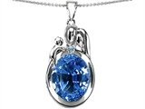 Star K™ Loving Mother And Father With Child Pendant Necklace With Oval 11x9mm Simulated Aquamarine style: 304575