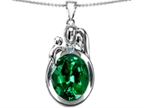 Star K™ Loving Mother And Father With Child Pendant Necklace With Oval 11x9mm Simulated Emerald style: 304578