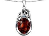Star K™ Loving Mother And Father With Child Pendant Necklace With Oval 11x9mm Simulated Garnet style: 304580