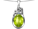 Original Star K™ Loving Mother And Father With Child Pendant With Oval 11x9mm Simulated Peridot style: 304583