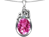 Star K™ Loving Mother And Father With Child Pendant Necklace With Oval 11x9mm Created Pink Sapphire style: 304584