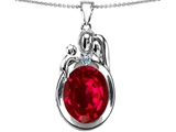 Star K™ Loving Mother And Father With Child Pendant Necklace With Oval 11x9mm Created Ruby style: 304586