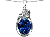 Star K™ Loving Mother And Father With Child Pendant Necklace With Oval 11x9mm Created Sapphire style: 304587
