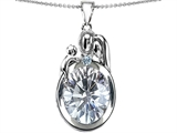 Star K™ Loving Mother And Father With Child Pendant Necklace With Genuine 11x9 Oval White Topaz style: 304588