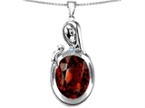 Star K™ Loving Mother With Child Family Pendant Necklace With Oval 11x9mm Simulated Garnet style: 304597