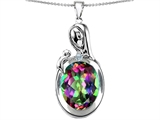 Star K™ Loving Mother With Child Family Pendant Necklace With Oval 11x9mm Mystic Topaz style: 304598
